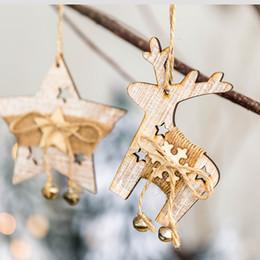 Decorazioni di albero di natale verde online-Deer Stella Capodanno legno naturale Ornamenti albero di Natale ciondoli appesi Crafts Natale Home Decor Wedding Party Decoration