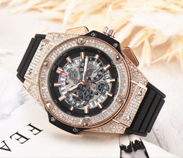 digital unisex luxury watches Promo Codes - Men's fashion Large dial Watches Luxury Men's Fully functional quartz rubber Diamond inlay Wristwatches Clock dial Watches