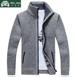 herren-winterjacke wollpelz Rabatt 2019 New Sweater Männer Herbst-Winter-SweaterCoats Male Thick-Pelz-Wolle Herren Pullover Jacken beiläufige Reißverschluss Strickwaren Größe M-3XL V191018