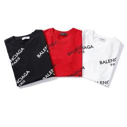 2019 Unisex Venta caliente Diseño de París Hombres Impreso Completo Bal ciaga Logo Camiseta Camiseta Mujer de moda para mujer Barcelo Moda de punto delgado Tops desde fabricantes