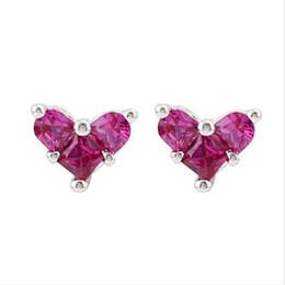 Сердце свиньи онлайн-LULU-PIG 925 стерлингового серебра уха серьги корейской версии простой темперамент красный кристалл компактный мини-сердце серьги E0570