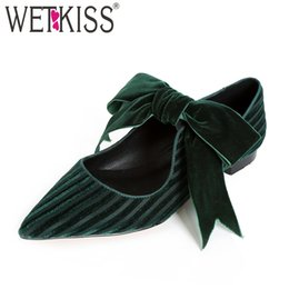 a3ee402481a5d2 WETKISS Pleuche Women Flats Pointed Toe Butterfly Knot Footwear Flat Sole Female  Shoes 2019 Spring Shoes Woman New Green