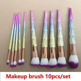 Glitter erröten make up online-Make-up Pinsel 10pcs bereifte Griff 3D Dazzle Glitter Foundation Puder Make-up Pinsel Blush Lidschatten MakeupBrush