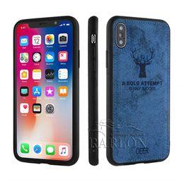 fundas para ropa Rebajas 2019 New Deer Pattern Case Cloth Back TPU Soft Edge Fundas protectoras para iPhone Xs Max XR 8 7 plus 6 Huawei P30 Pro