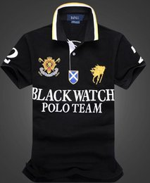 e07d0aa9 discount Polo Shirt 100% Cotton Short Sleeve men Polos Sport BLACK WATCH  POLO TEAM BLUE RED WHITE BLACK STRIPE S M L XL 2XLDropship