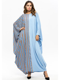 bat clothing Coupons - Ramadan Pray Muslim Abaya Plaid Patch Design Bat-wing Sleeve Robe Dubai Clothing Arab Moroccan Kaftan Plus Size Caftan 7482