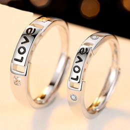 2019 sempre anéis para casais Moda Conjuntos de Jóias Anel de Noivo para o Casamento Da Noiva e Do Noivo Sólido 925 Sterling Silver Wedding Band AMOR Forever Ring Set Presente desconto sempre anéis para casais