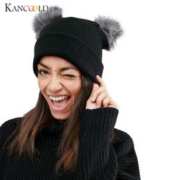 7930085c9b096 KANCOOLD Hat Women Winter Warm Crochet Knit Double Faux Fur Pom Pom Beanie  Cap High quality fashion hat Women 2018NOV16