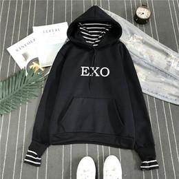 Kadınlar için yeni Moda Kore Stil Kazak Exo Kpop Elbise Harajuku Rahat Hoodies Mektup Baskılı Bts Polar Kazak Kapüşonlu nereden