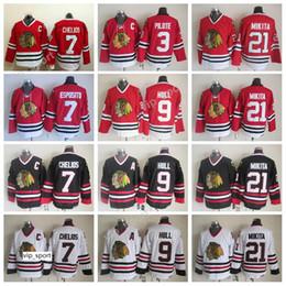Chicago Blackhawks 9 Bobby Hull Trikots Hockey 3 Pierre Pilote 7 Tony Esposito 7 Chris Chelios Trikot Rot 21 Stan Mikita von Fabrikanten