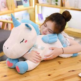 Bambole di angeli all'ingrosso online-Ingrosso INS Unicorno Peluche Bambola animale Angelo Cavallo Dormire Giocattoli Bambole confortante Regali per bambini Home Decor Divano Cuscino