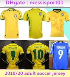 calcio libero Sconti Alta qualità ! Brasile Retro maglie in jersey di calcio 1994 1998 2002 Brasile Rivaldo / R. Carlos retrò brasil calcio maglie camicia trasporto libero
