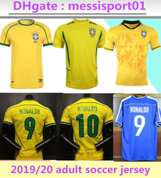 2020 brasil futebol Qualidade máxima ! camisas de futebol jersey Brasil Retro 1994 1998 2002, o Brasil Rivaldo / R. Carlos retro Brasil de futebol Jerseys frete grátis camisa brasil futebol barato