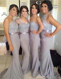 Sirena gris Vestidos de dama de honor 2018 Estilos mezclados Vestidos de gasa de encaje para dama de honor Vestidos de noche hechos a medida Vestido de fiesta largo SB173 desde fabricantes
