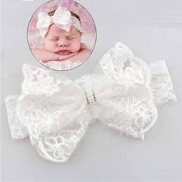 Capelli rosa baby hairbands online-fascia della neonata piega di cristallo del merletto dell'arco del fiore dei capretti del bambino appena nato Hairbands fotografia puntello della fascia della neonata ragazza