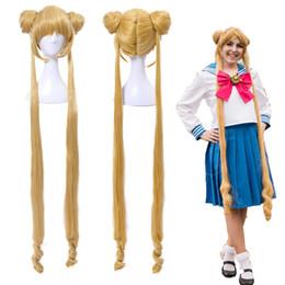 ShippingSailor Moon Tsukino Usagi Two Ponytails Buns Bangs largo y rubio cosplay peluca llena desde fabricantes