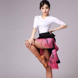 samba röcke Rabatt 2019 Frauen Fringe Latin Dance Rock Rose / Schwarz / Weiß Salsa / Rumba / Samba / Tango-Kleid für Tanzen Praxis / Performamnce Tanzkleidung