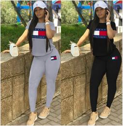 teste padrão do bodysuit das meninas Desconto mulheres designer marca 2 Piece Set Outfits manga curta Treino verão camiseta Calças Sweatsuit capuz justas Sportswear Sports Suit s-xl