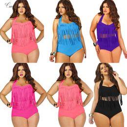 bikinis xl xxl Rebajas Verano más el tamaño de Bikini de juego de las mujeres de la borla de la tapa del halter push up bikini grande talla XXL 3XL playa de baño Para