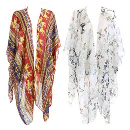 Blouses & Shirts Pullover Square V-neck Swimsuit Cover Up Bohemian Rainbow Large Sunflower Printed Chiffon Cape Shawl Oversized Loose Kimon Women