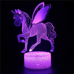 2019 lámpara giratoria led Unicornio 3D LED Luz de la noche Mesa de escritorio táctil Lámpara de ilusión óptica Elstey 7 Cambio de color de luz Unicornio Luz nocturna