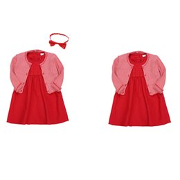 Rüsche strickjacke online-Baby Mädchen Kleider Solide Rüschen Strickjacke Mantel Rotes Kleid Mit Stirnband Baby Mädchen Designer Kleidung Kinder Designer Kleidung Mädchen 07