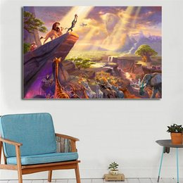 la pittura del leone Sconti Thomas Kinkade Cartoon Lion King HD Stampe Su Tela Wall Art Immagini Pittura Per Soggiorno Moderno Home Decor (Senza Cornice / Con Cornice)
