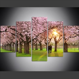 couple cartoon painting Promo Codes - 5 Piece Large Size Canvas Wall Art Pictures Creative Spring Park Petals Cherry Blossom Couple Art Print Oil Painting for Living Room