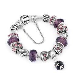 Argentina Estilo europeo Vintage Silver plated Crystal Charm Bracelet Women fit Original DIY Pandora pulsera fina regalo de la joyería cheap charms for pandora style bracelets Suministro