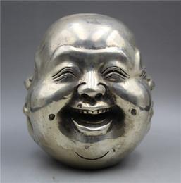 Statua tibetana online-Collezione Buddismo Statua di Buddha a quattro facce scolpita a mano in argento tibetano