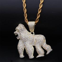 2019 cadena de espina de pescado al por mayor Gold Silver Animal Gorilla King Kong Necklace & Pendant With 4mm Rope Chain Iced Out Cubic Zircon Bling Men Hip Hop Jewelry Gifts