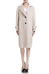 Herbst Winter Frauen Kleidung Mode Frauen Wollmantel Grau Weiß Lange Stil Zweireiher Wolljacke Wollmischung Dick Warmer Mantel von Fabrikanten