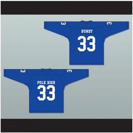 Kinderhockey trikot online-Benutzerdefinierte XS-5XL Al Bundy 33 Polk High School blau Hockey Jersey verheiratet mit Kindern Stich genäht jeder Spieler oder Nummer versandkostenfrei