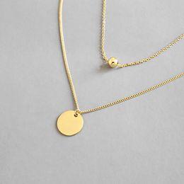 925 Sterling Silver Multi Layer Chain Colliers Pour Femmes Nouveau Simple Géométrique RoundBeads Pendentif Collier Beaux Bijoux ? partir de fabricateur