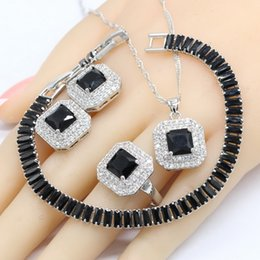 precious jade pendant Promo Codes - Silver Color Jewelry Sets For Women Gift Black Semi-precious Necklace Pendant Stud Earrings Ring Bracelet 2018 New