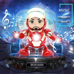 Robô de dança Homem de Ferro Máquina de Dacing Figura de Ação Brinquedo Vingadores Super Hero Eletrônico Crianças Brinquedos Com Som LED Lanterna Para Presente de Natal de
