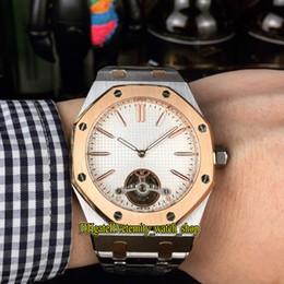 Barato Serie Royal 26512ST.OO.1220ST.01 Tourbillon, esfera blanca, movimiento automático, reloj para hombre, 316L, correa de caja de acero, relojes deportivos desde fabricantes