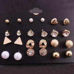 Koreanische ohrringe mischen online-12 Paare / los Trendy Elegante Perle Bolzenohrrings Set Korean Fashion Strass Kristall Punk Ohrring Mix Ohrschmuck Für Frauen Mädchen