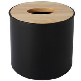 scatola di corteccia Sconti Contenitore moderno di tovagliolo di carta con il supporto del telefono mobile Vaso di asciugamano di carta della copertura di legno