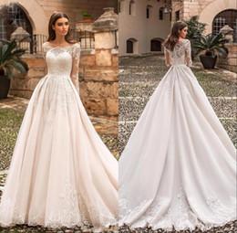 2019 um ombro frente vestido de casamento curto Princesa Bateau Elegante A linha de vestidos de casamento manga longa Lace apliques vestido de noiva vestido de novia BC1949