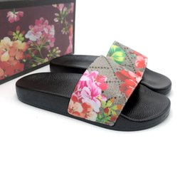 leather sandals women flats Promo Codes - 2020 Top Men Women Sandals Designer Shoes Slippers snake print Luxury Slide Summer Fashion Wide Flat Sandals Slipper With Box Dust Bag 35-46
