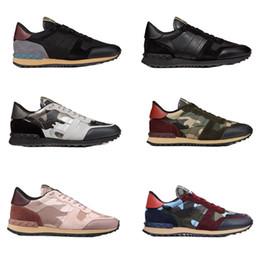 sapatos de camuflagem homens Desconto Moda rockrunner camuflagem sapatilha Studded sapatos de Grife Homens Mulheres Flats formadores de Malha De Couro Combo Rock Runner Sapatos com caixa