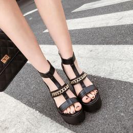 kette t gurt fersen Rabatt Sexy Kette Block Ferse Sandalen Frau T-Riemen Sommer Schuhe mit Reißverschluss High Heels Schuhe zapatos mujer casual Schuhe Gladiator Fersen YMA724