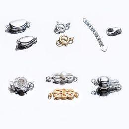 2019 sterling silber button armbänder DIY Perlenkette Knopf S925 Sterling Silber Perlen Armband Knopf 6 Stile DIY handgemachtes Material Perlen Zubehör günstig sterling silber button armbänder