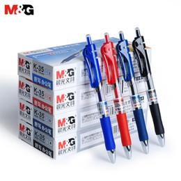 2019 canetas finas de gel Canetas de Tinta Retrátil Gel MG, 0.5mm Extra Fino, Preto / Azul / Vermelho / Azul Escuro; Canetas Esferográficas de Rolos de Gel, Punho de Conforto Reutilizável desconto canetas finas de gel