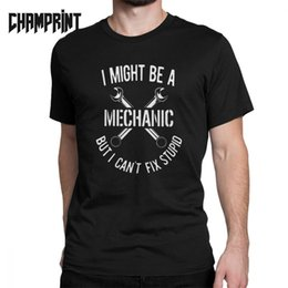 mechaniker t-shirts Rabatt Mechaniker T-Shirts für Männer Auto Fix Ingenieur Coole Baumwolle Tees Rundhals Kurzarm T-Shirt Plus Size Tops