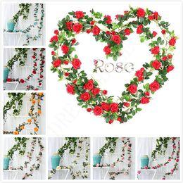 2019 подвесные цветы 9 Цветы 16 Цветы 33 Цветы искусственные розы Vines Свадьба Декор Цветок розы Rattan Строка Сад Висячие Garland Шелковый цветок дешево подвесные цветы