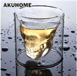 whisky de cabeça de cristal Desconto 3 tamanhos Duas maneiras tiro transparente Caveira de Cristal Glass Head Cup para o vinho Whiskey Vodka Bar Club copo de vinho cerveja