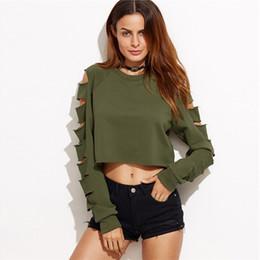 donne verde di pullover dell'esercito Sconti Autunno Donna New Womens Army Green Off spalla manica lunga Pullover a maniche corte Pullover Crop Top in stile Europa