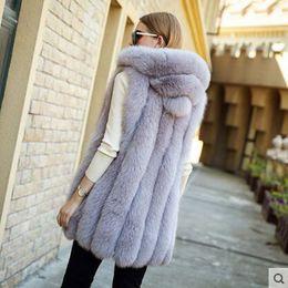 Жилет средней длины онлайн-2017 New fur vest Fur & Faux silver  coat hooded vest vertical stripe medium-long large size women